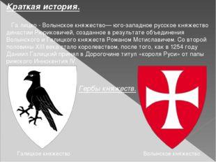 Краткая история. Га́лицко - Волынское княжество— юго-западное русское княжест
