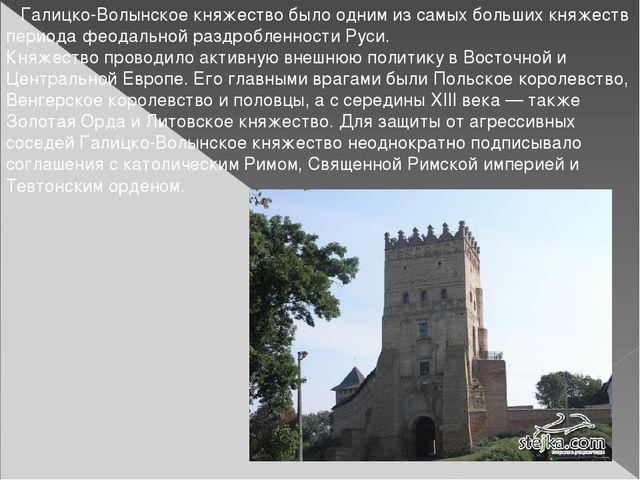 Галицко-Волынское княжество было одним из самых больших княжеств периода фео...