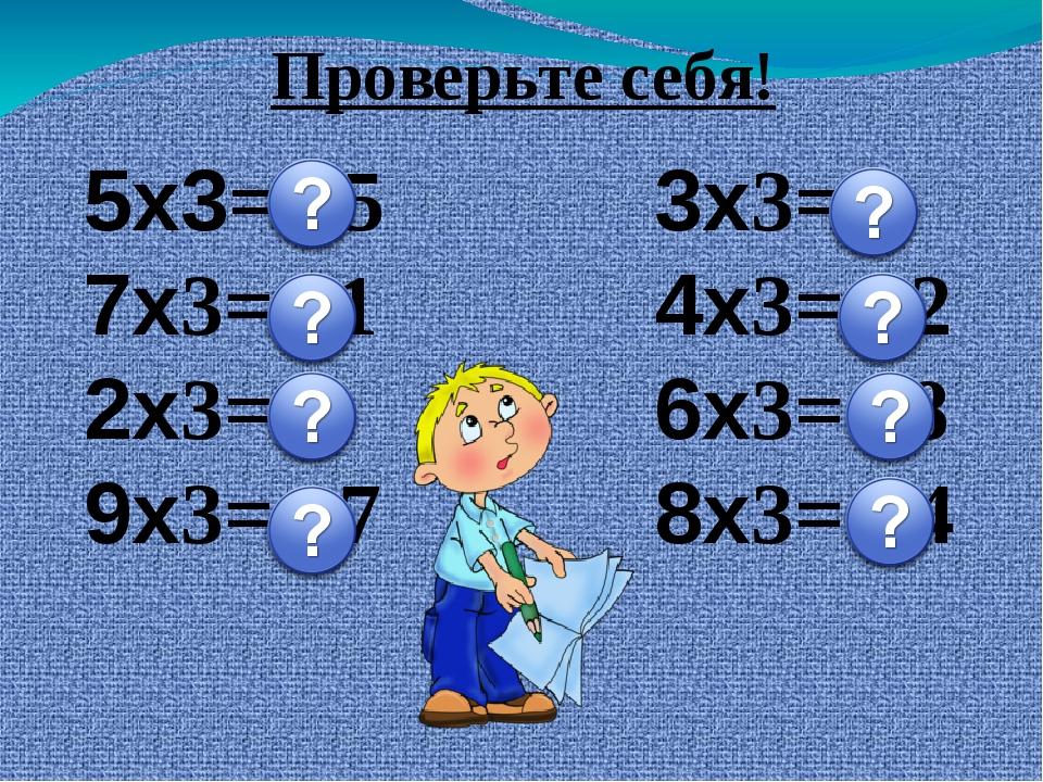 5х3= 15 7х3= 21 2х3= 6 9х3= 27 3х3= 9 4х3= 12 6х3= 18 8х3= 24 Проверьте себя!