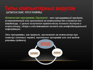 Типы компьютерных вирусов ШПИОНСКИЕ ПРОГРАММЫ Шпионская программа (Spyware) -