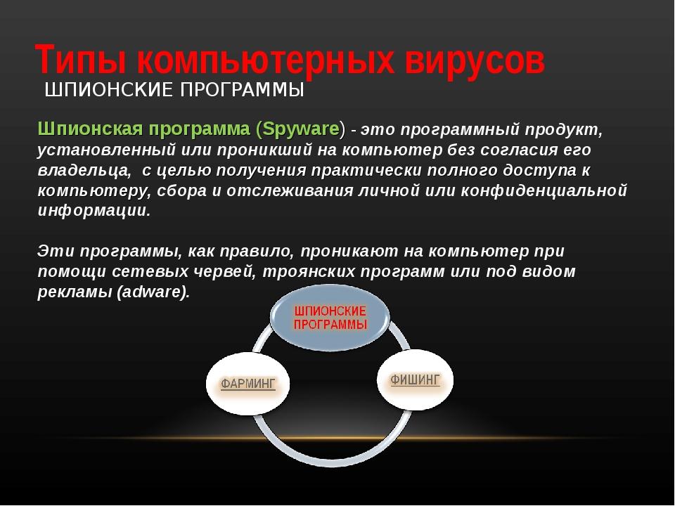 Типы компьютерных вирусов ШПИОНСКИЕ ПРОГРАММЫ Шпионская программа (Spyware) -...