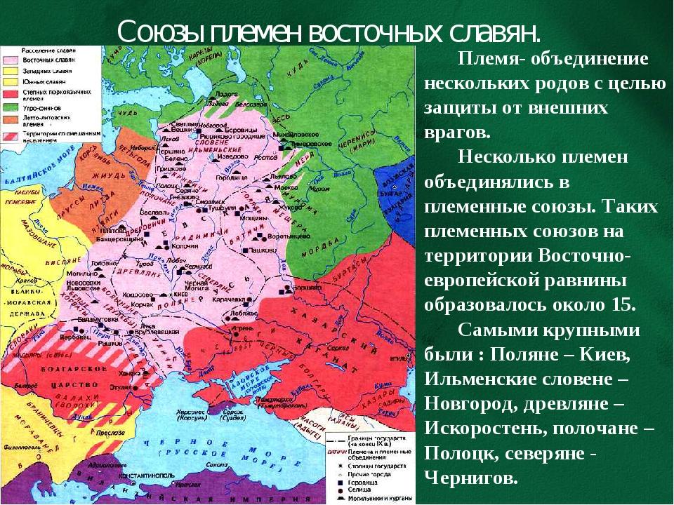 Союзы племен восточных славян. Племя- объединение нескольких родов с целью за...