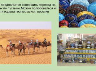 Туристам предлагается совершить переход на верблюдах по пустыне.Можно полюбов