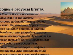 Природные ресурсы Египта. Земля Египта богата полезными ископаемыми. На Сина