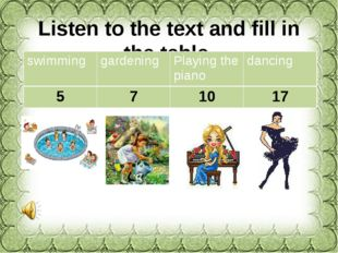 Listen to the text and fill in the table. swimming gardening Playing the pian