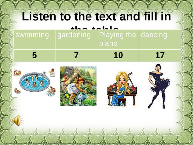 Listen to the text and fill in the table. swimming gardening Playing the pian...