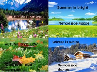 SPRING IS GREEN Summer is bright AUTUMN IS YELLOW Winter is white Зимой все б