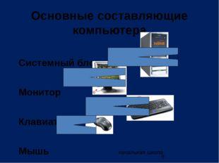 начальная школа Основные составляющие компьютера Системный блок Монитор Клави