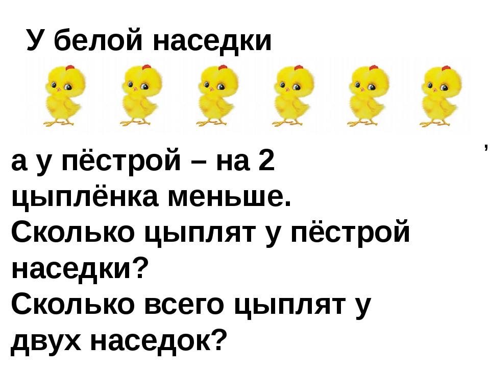 У белой наседки а у пёстрой – на 2 цыплёнка меньше. Сколько цыплят у пёстрой...