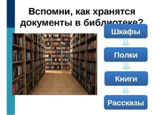 Вспомни, как хранятся документы в библиотеке? Шкафы Полки Книги Рассказы