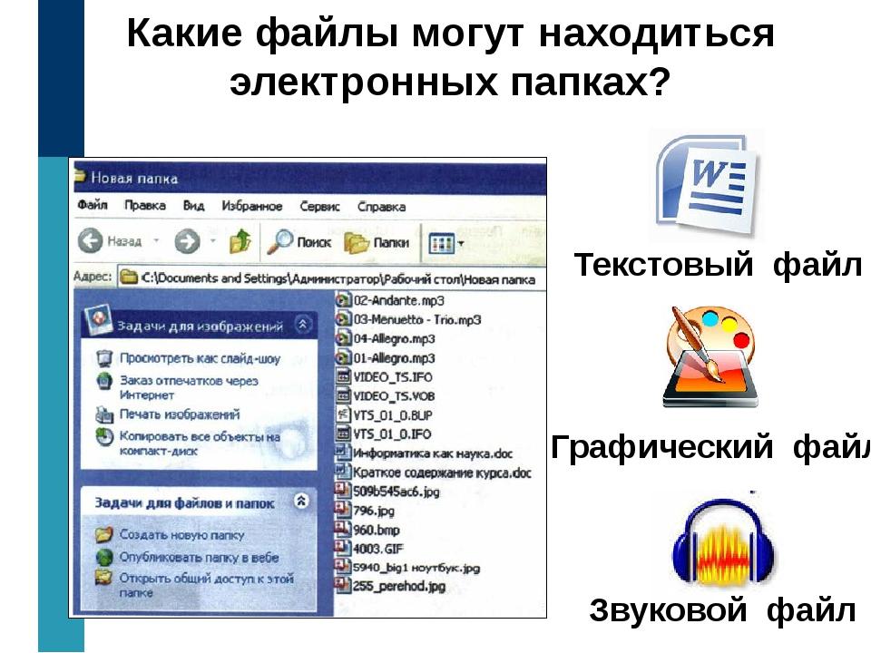 Какие файлы могут находиться электронных папках? Текстовый файл Графический ф...