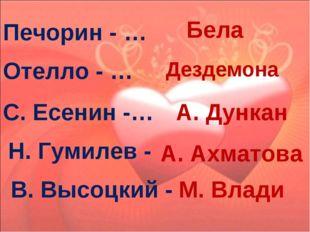 Печорин - … Бела Отелло - … Дездемона С. Есенин -… А. Дункан Н. Гумилев - А.