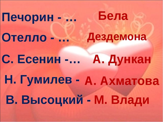 Печорин - … Бела Отелло - … Дездемона С. Есенин -… А. Дункан Н. Гумилев - А....