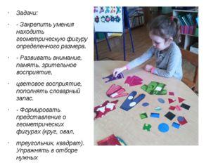 Задачи: - Закрепить умения находить геометрическую фигуру определенного разм