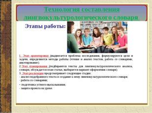 Технология составления лингвокультурологического словаря Этапы работы: 1. Эта