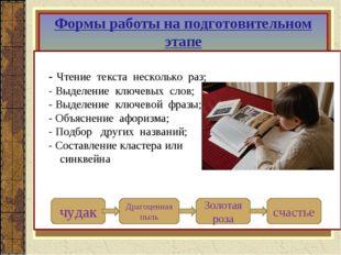Формы работы на подготовительном этапе - Чтение текста несколько раз; - Выдел