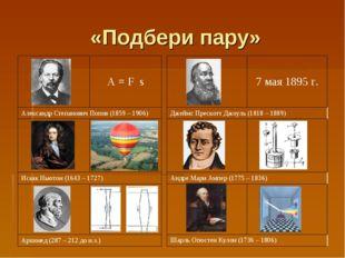 «Подбери пару» A = F s Александр Степанович Попов (1859 – 1906)  Исаак Нью