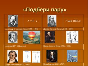 «Подбери пару» A = F s Александр Степанович Попов (1859 – 1906)  Архимед (