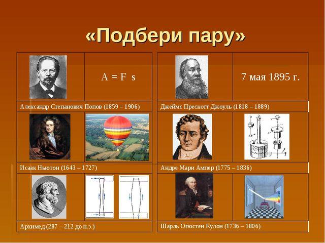 «Подбери пару» A = F s Александр Степанович Попов (1859 – 1906)  Исаак Нью...
