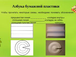 Азбука бумажной пластики Чтобы прочитать некоторые схемы, необходимо понимать
