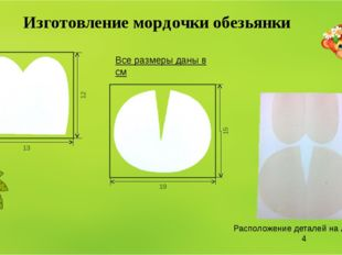 Изготовление мордочки обезьянки Расположение деталей на листе А-4 Все размеры