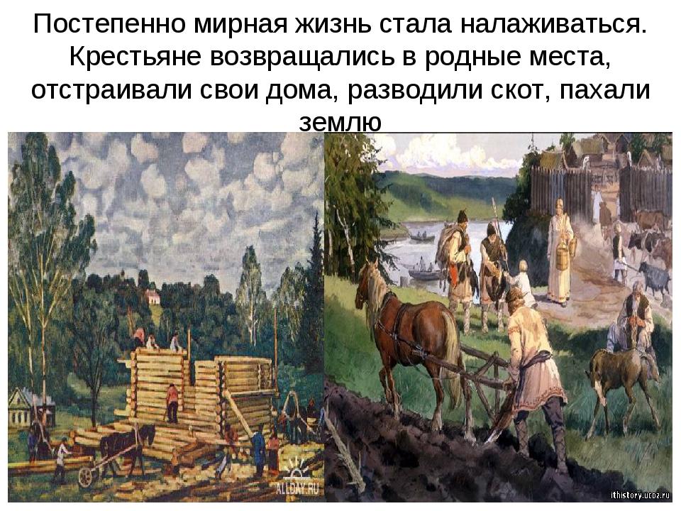 Постепенно мирная жизнь стала налаживаться. Крестьяне возвращались в родные м...