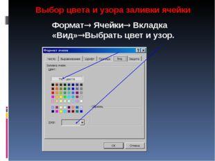 Выбор цвета и узора заливки ячейки Формат Ячейки Вкладка «Вид»Выбрать цвет