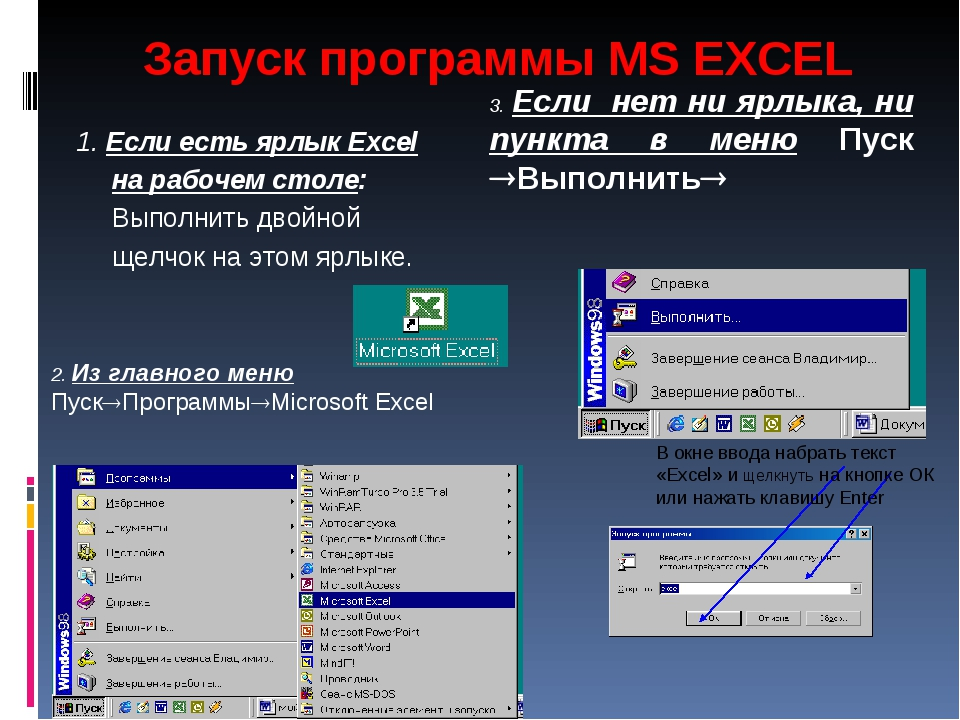 Запуск программы MS EXCEL 1. Если есть ярлык Excel на рабочем столе: Выполнит...