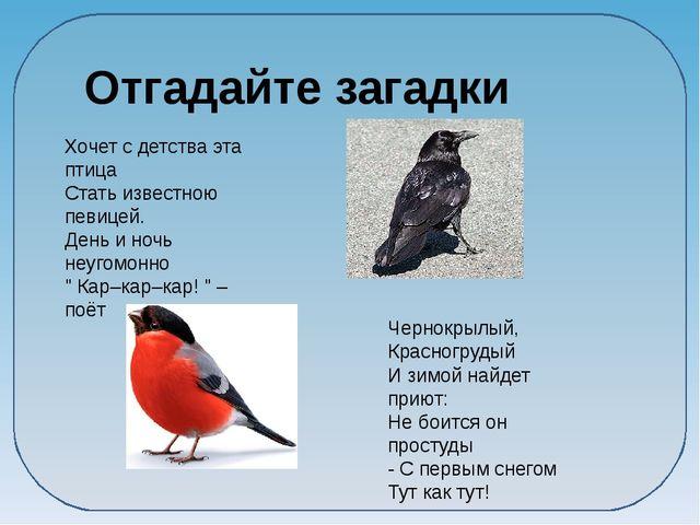 Отгадайте загадки Хочет с детства эта птица Стать известною певицей. День и...