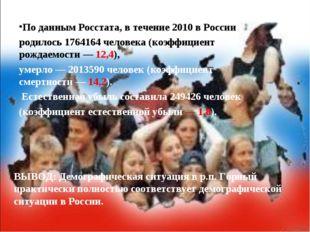 По даннымРосстата, в течение 2010 в России родилось 1764164 человека (коэффи