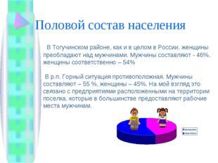 Половой состав населения В Тогучинском районе, как и в целом в России, женщин