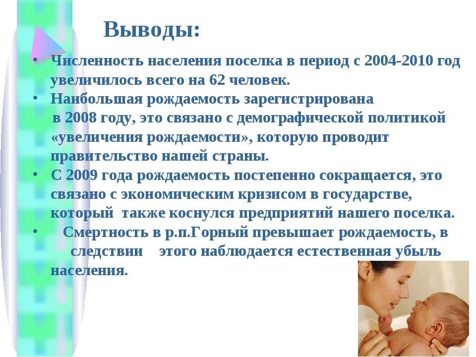 Численность населения поселка в период с 2004-2010 год увеличилось всего на 6...