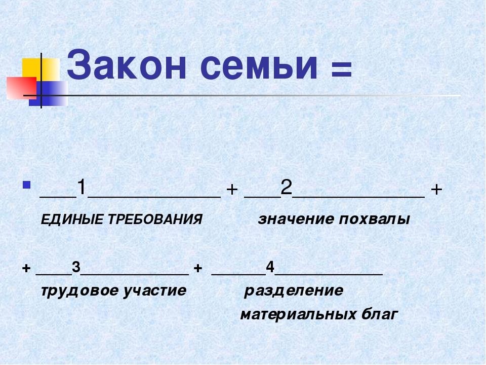 Закон семьи = ___1___________ + ___2___________ + ЕДИНЫЕ ТРЕБОВАНИЯ значение...
