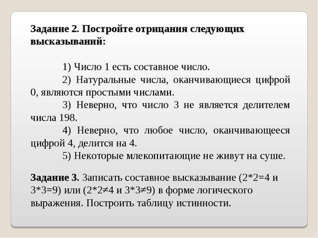 Задание 2. Постройте отрицания следующих высказываний: 1) Число 1 есть соста...