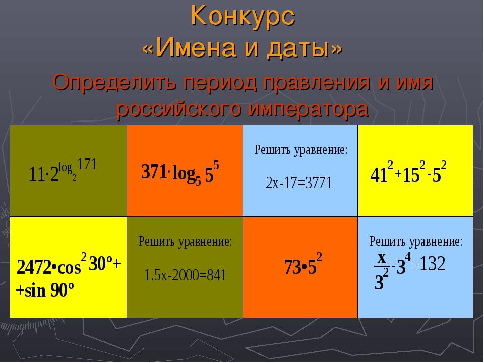 Конкурс «Имена и даты» Определить период правления и имя российского императ...