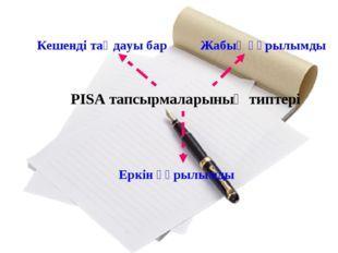 PISA тапсырмаларының типтері Кешенді таңдауы бар Жабық құрылымды Еркін құрылы