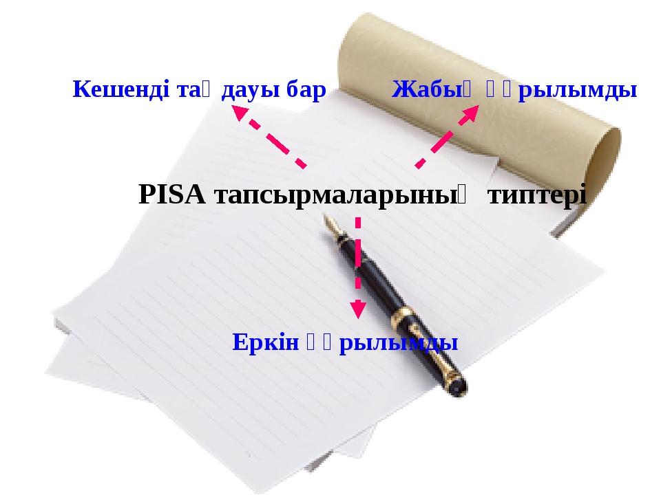 PISA тапсырмаларының типтері Кешенді таңдауы бар Жабық құрылымды Еркін құрылы...