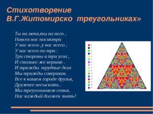 Стихотворение В.Г.Житомирско треугольниках» Ты на меня,ты на него , Навсех на