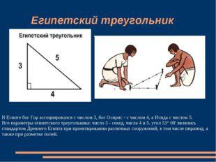 Египетский треугольник В Египте бог Гор ассоциировался с числом 3, бог Осири