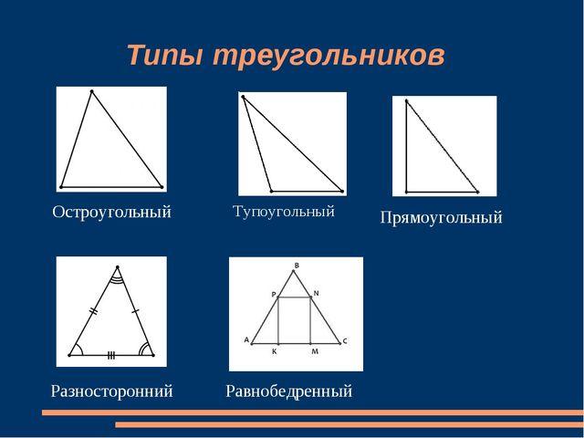 Типы треугольников Остроугольный Тупоугольный Прямоугольный Разносторонний Р...