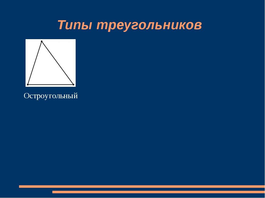 Типы треугольников Остроугольный