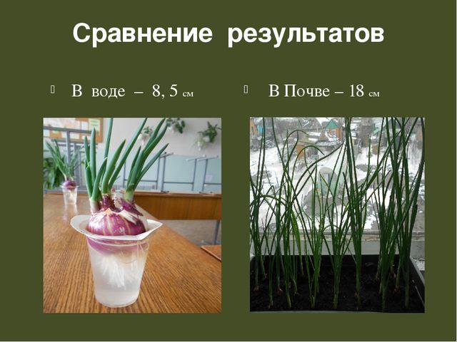 Сравнение результатов В воде – 8, 5 см В Почве – 18 см