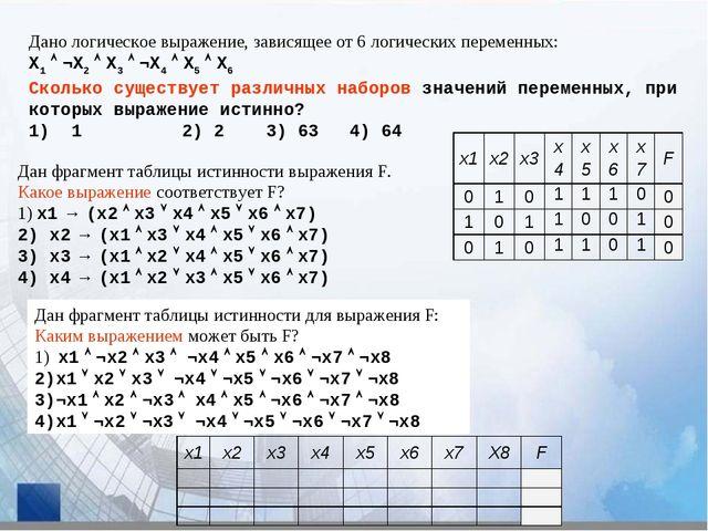 Дано логическое выражение, зависящее от 6 логических переменных: X1  ¬X2  X...