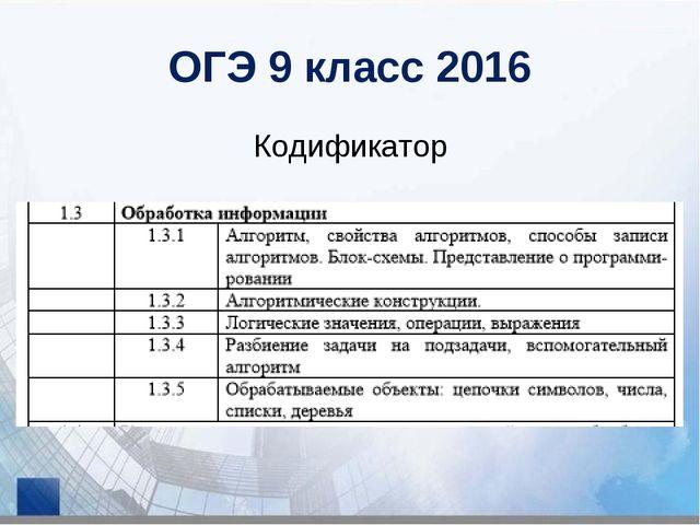 ОГЭ 9 класс 2016 Кодификатор