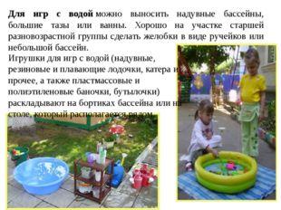 Для игр с водойможно выносить надувные бассейны, большие тазы или ванны. Хор