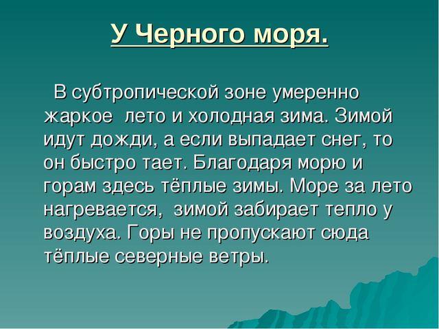 У Черного моря. В субтропической зоне умеренно жаркое лето и холодная зима. З...