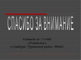 Команда № 11x469 «Я-мальчик» с.Самбург, Пуровский район, ЯНАО