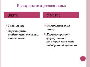 В результате изучения темы: Типы лица; Характерные особенности основных типов