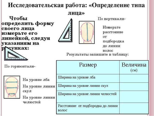 Чтобы определить форму своего лица измерьте его линейкой, следуя указаниям н...