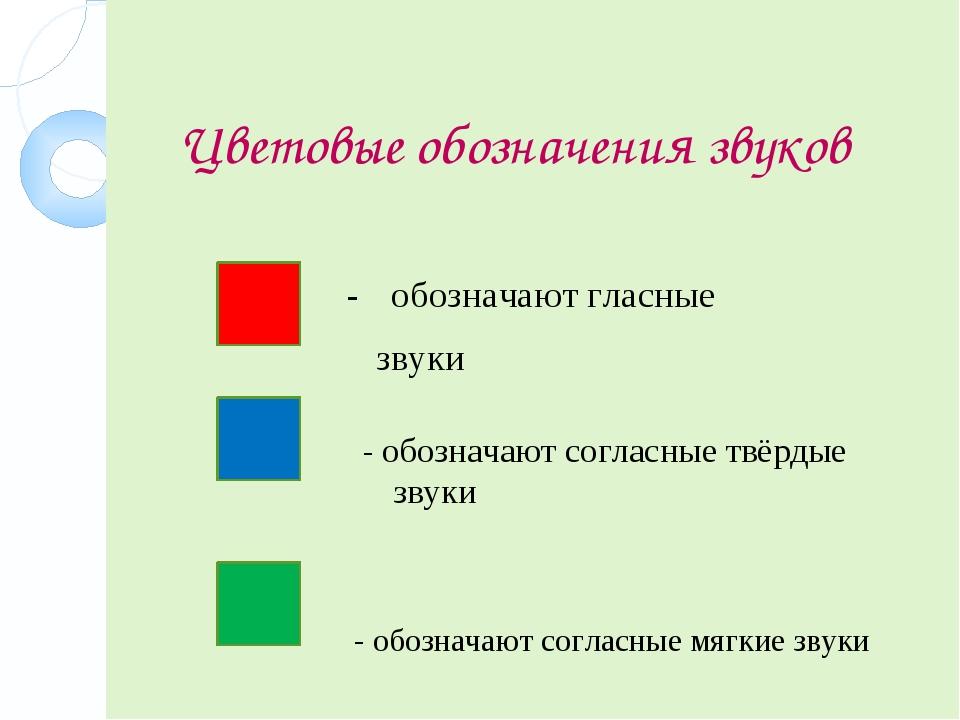Цветовые обозначения звуков - обозначают согласные мягкие звуки - обозначают...